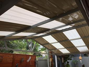 Gable patio with a mix of steel and polycarbonate roof sheets