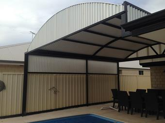 Dome patio in Cool top roof sheets, with side privacy screen (Grecca Profile Available Only)