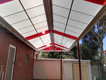 gable multicell patio with red sheets