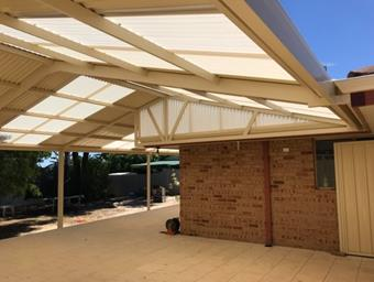 a gable patio with cut truss design