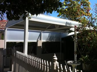 gable carport with privacy screen