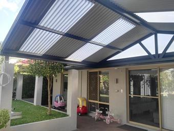 a gable patio with extra height