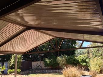 Gable patio with C-Dek roofing, Cream sheets with Jasper frame