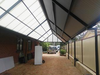 a custom high pitch gable by great aussie patios