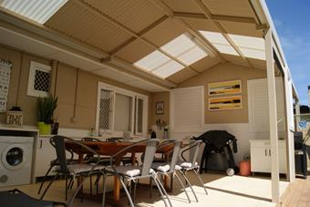 Gable patio with a mix of colourbond steel and polycarbonate