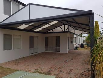 a gable patio in monument colorbond steel