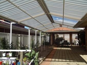 All polycarbonate Gable patio with post extensions - Great Aussie Patios