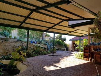 a cranked gable patio