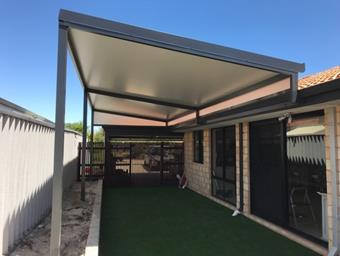 a skillion patio with solarspan roofing