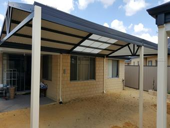 Gable patio with Colorbond roof and Suntuff polycarbonate skylights