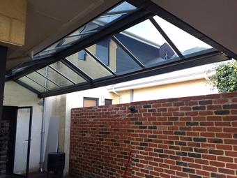 Gable patio with Sunglaze roofing