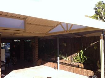 gable patio in trimdek roofing