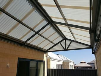 gable patio with diffused ice polycarbonate roof