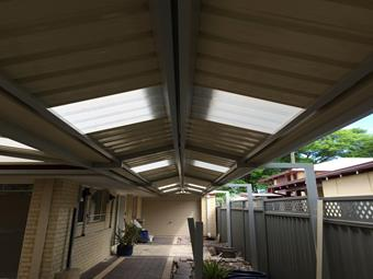 Narrow gable patio