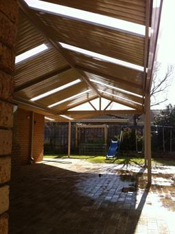 gable patio with c-dek roofing & poly skylights