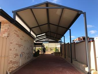 a cranked gable carport for caravan