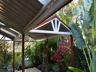 Twin gable patios.