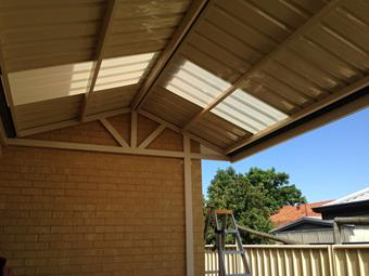 Gable patio with ustom knotch out around downpipe