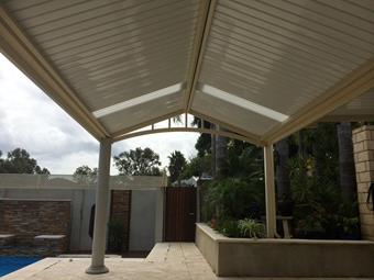 Gable patio with C-Dek roofing for a very clean look