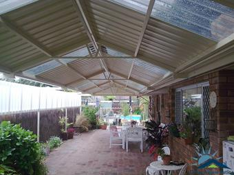 Gable patio with extended posts