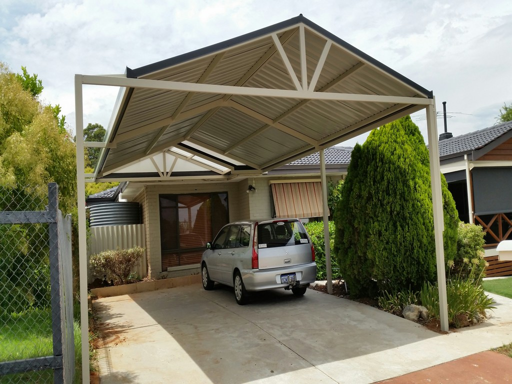 Carports perth steel carport builders great aussie patios for Gable roof carport