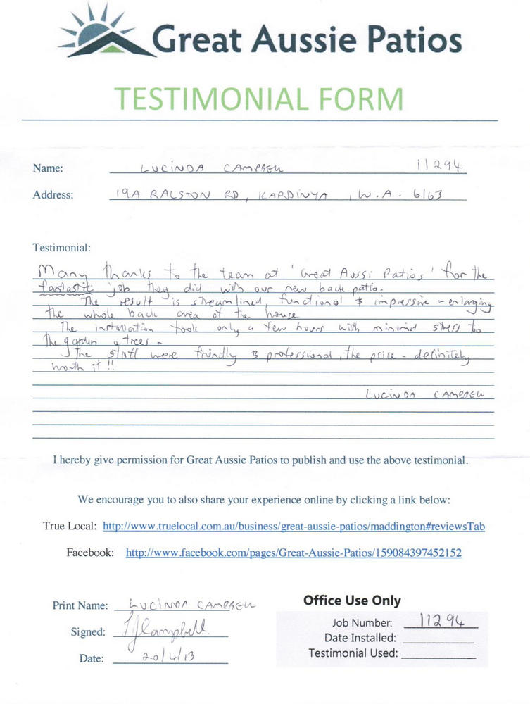 Great Aussie Patio Testimonials