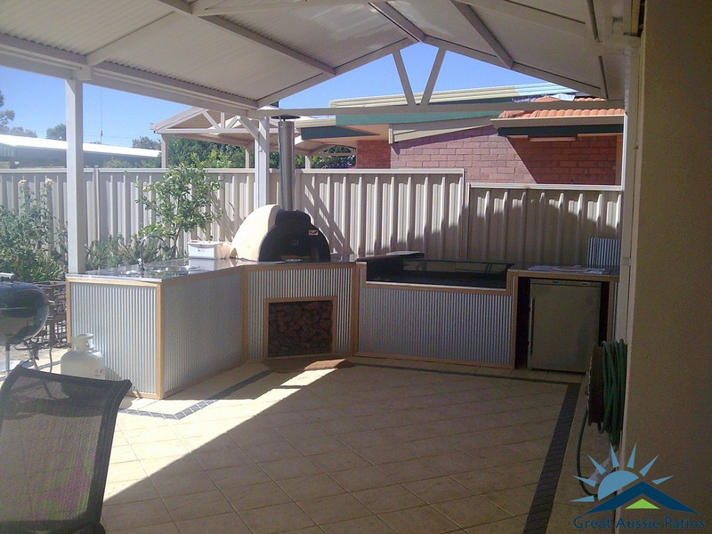 pizza oven under a gable patio by great aussie patios