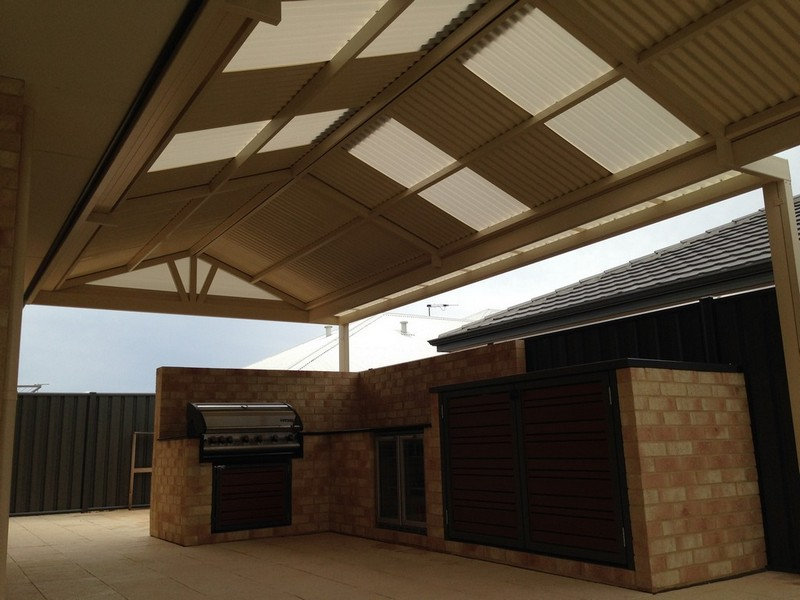 Gable Patio with Sunpal Polycarbonate Skylights by Great Aussie Patios.