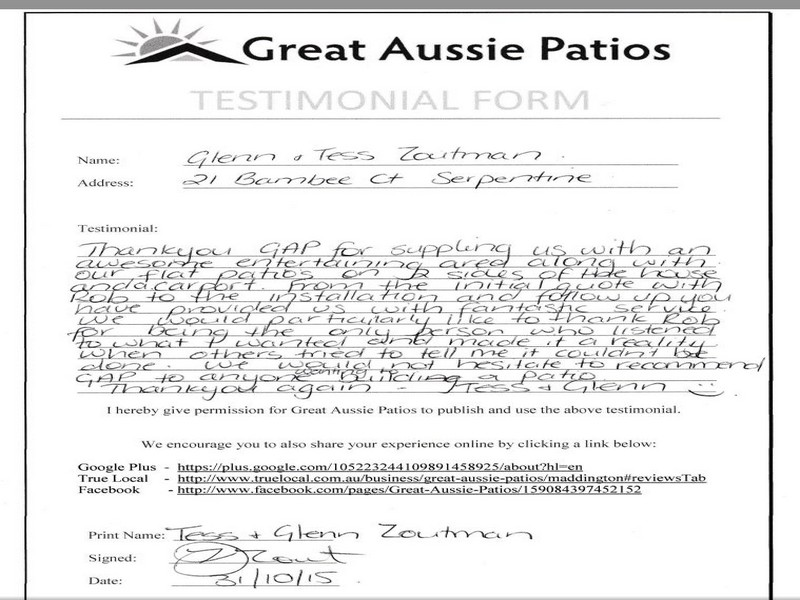testimonial for great aussie patios