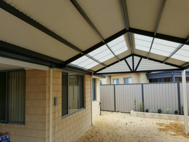colorbond darker colours with contrasting light sheets great aussie patios
