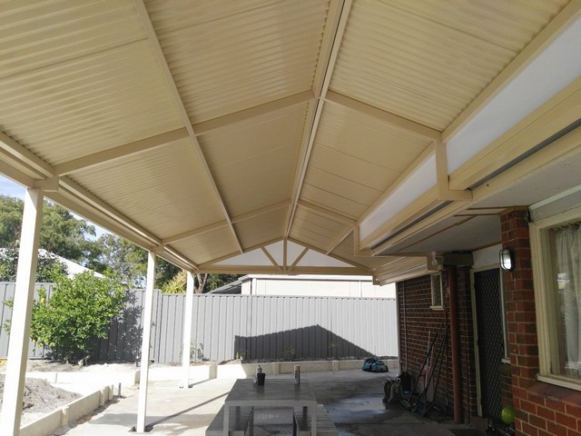 gable patio all in colorbond cream great aussie patios