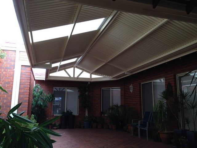 gable pergola in court yard by great aussie patios