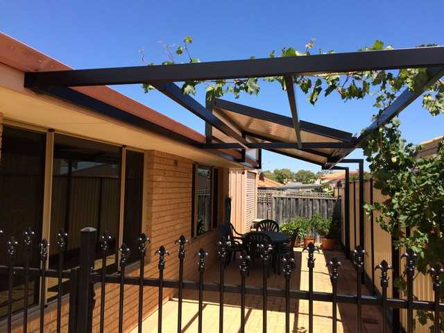 raised flat pergola with open frame by great aussie patios