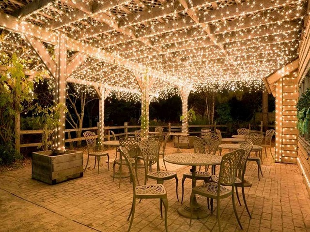fairy lights on a patio