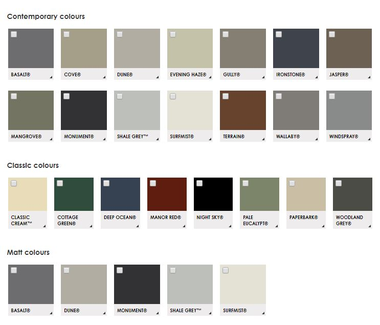 Great Aussie Patios uses only Colorbond colours